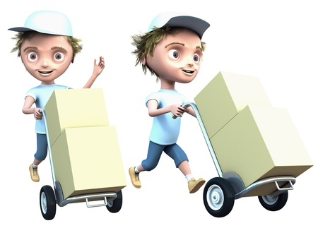 Cg courier delivers a packages isolated on white
