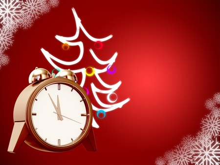 christmas tree and clock on red background with snowflakes