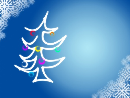 christmas tree on blue background with snowflakes Stock Photo