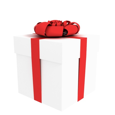 wrapped gift box with red tape isolated on white Stock Photo