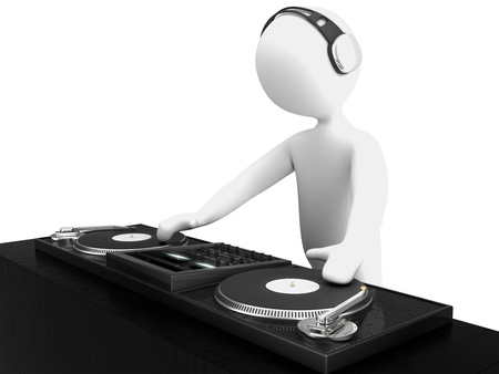 turntables: character dj isolated on white Stock Photo