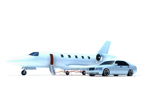 private jet: plane and car Stock Photo