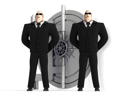 seguridad laboral: Dos guardias de protecci�n de una caja fuerte Foto de archivo