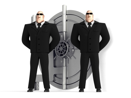 Two guards protect a safe Stock Photo - 12711294