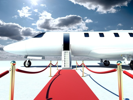 corporate jet: plane and red carpet