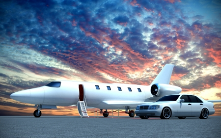 corporate jet: plane and car Stock Photo