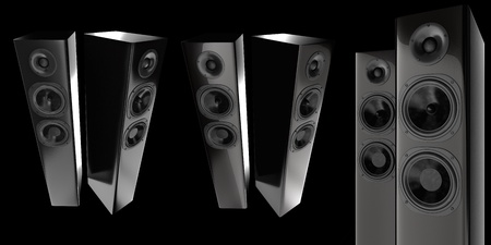 3d stereo speakers isolated on black