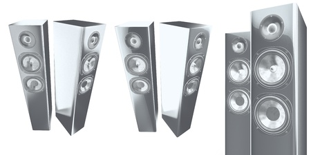 3d stereo speakers isolated on white Stock Photo