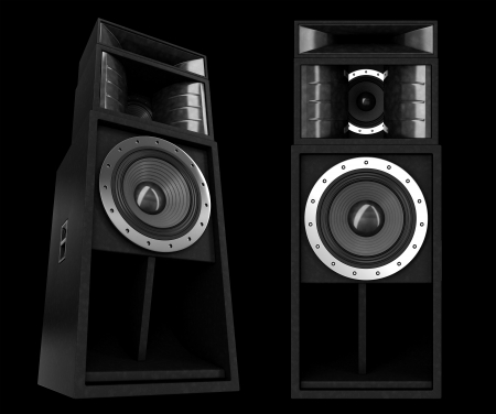 3d pro speakers isolated on black