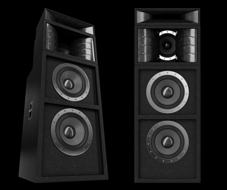 3d pro speakers isolated on black Stock Photo - 13724057