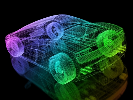 mesh background: 3d car wire