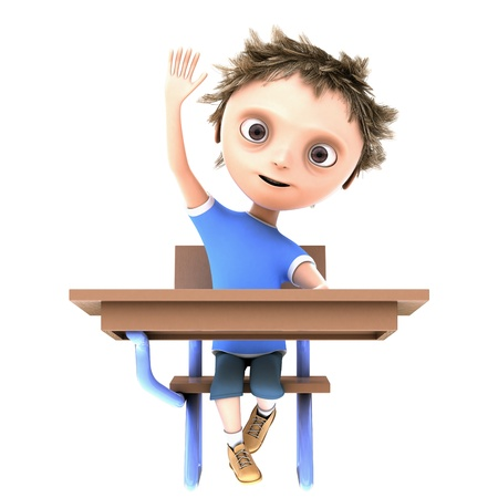 child of school age: 3d boy at the desk with his hand raised