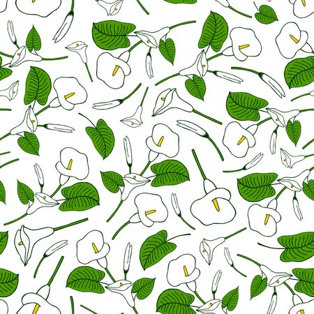 vector illustration eps 10. seamless pattern made from white calla lily. Hand drawing Ilustracja