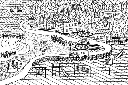 landscape of the city, village, road, houses, well, ducks, cows, playground, trees. eps10 vector illustration. hand drawing Vectores
