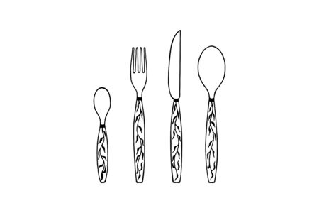 Vector illustration - small spoon, fork, knife, big spoon. Hand drawing eps10