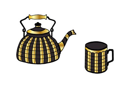 vintage teapot and cup vector illustration eps10