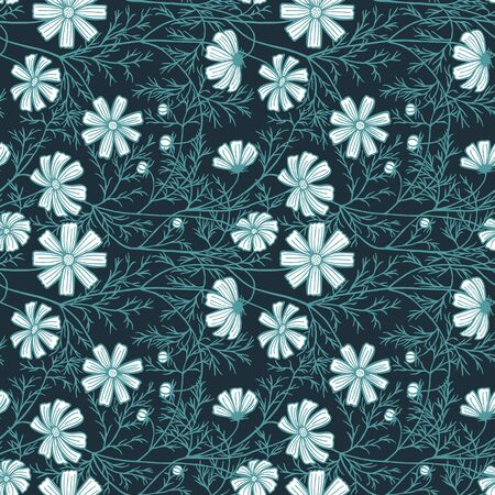 vector illustration eps10. cosmea flowers, daisy, coloring. Seamless pattern. 矢量图像