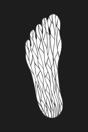foot with a decorative pattern.  vector illustration. hand drawing
