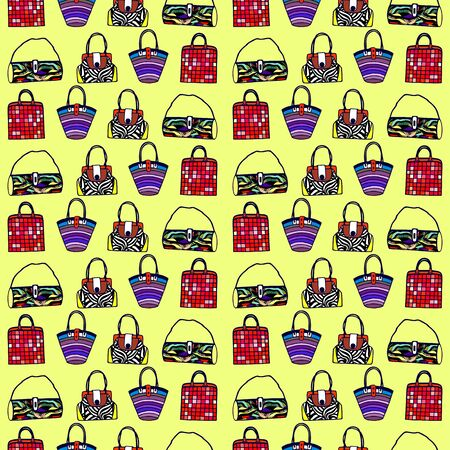set of fashion bags isolated. seamless pattern. vector illustration. Illustration