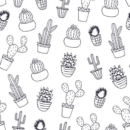 seamless pattern of cactus in pots. vector illustration. hand drawing