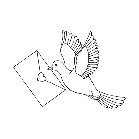 carrier pigeon flies with a letter in its beak.