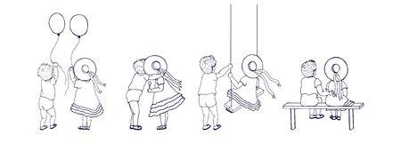 Cartoon children, boy and girl. different plots. Vektoros illusztráció