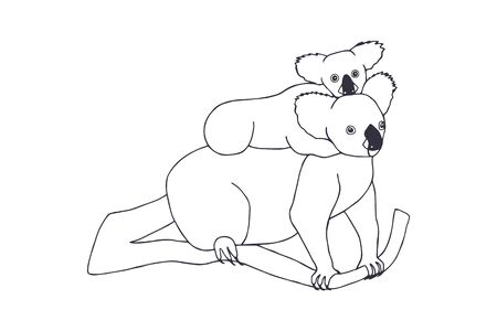 koala with baby on the back. white background isolate. eps 10 vector stock illustration. hand drawing. out line Banco de Imagens - 142129581