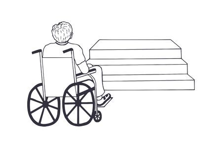 a guy in a wheelchair near the stairs. eps10 vector stock illustration. out line. hand drawing