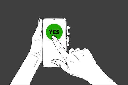 YES. female hands hold a smartphone, finger points. eps10 vector stock illustration Illustration