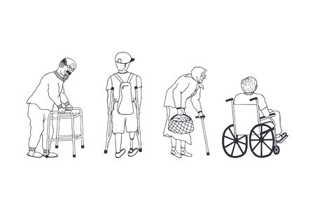 handicapped man with prosthesis on crutches with a backpack. a guy in a wheelchair. old grandmother in glasses. old grandfather with glasses and a beard on a walker
