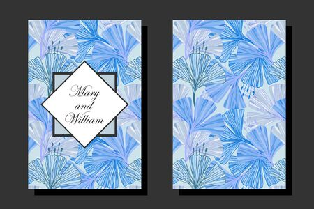 Set of wedding cards in blue color. eps10 vector stock illustration.