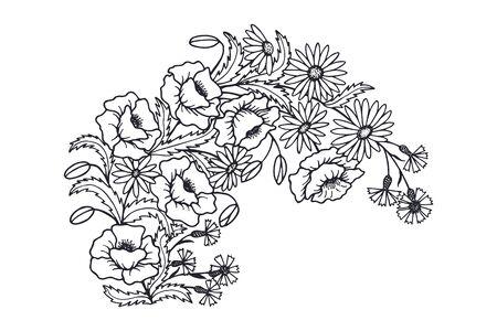 Wreath of flowers daisies, cornflowers, poppy. EPS10 vector stock illustration