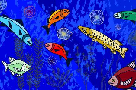 seabed, algae and fish.