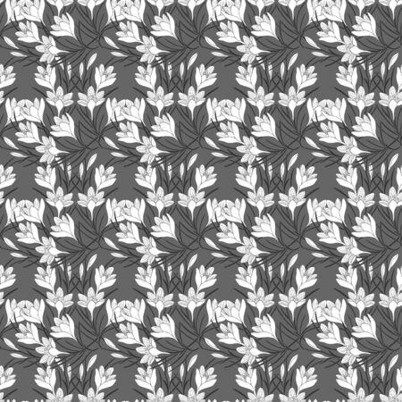 crocus flowers seamless pattern. eps 10 vector stock illustration.