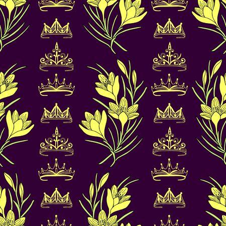 Seamless pattern of tiaras, crowns and crocus flowers. Vektorgrafik