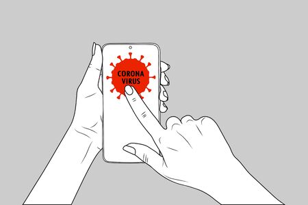 Coronavirus. female hands hold a smartphone, finger points.