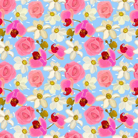 Floral seamless pattern of orchids, roses, daffodils. Reklamní fotografie - 150139303