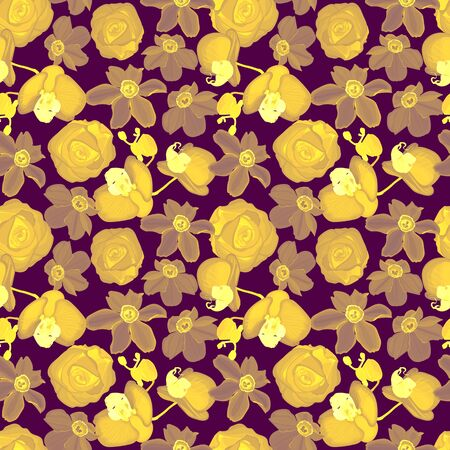 Floral seamless pattern of orchids, roses, daffodils.