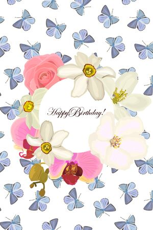 Happy birthday Greeting card with a frame of flowers roses, orchids, daffodils. On white background.