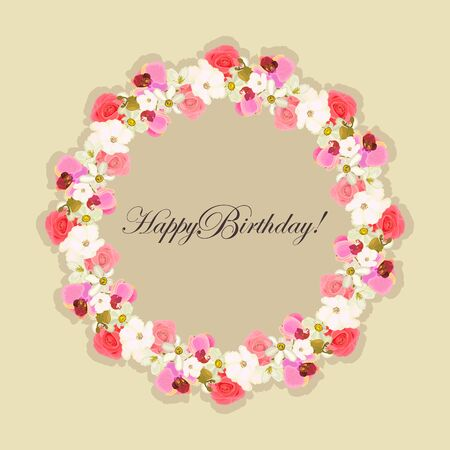 Happy birthday Greeting card with a frame of flowers roses, orchids, daffodils. eps10 vector stock illustration.