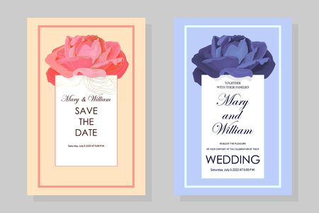 Set of wedding cards with a blue rose in pale blue and pink. EPS10 vector stock illustration