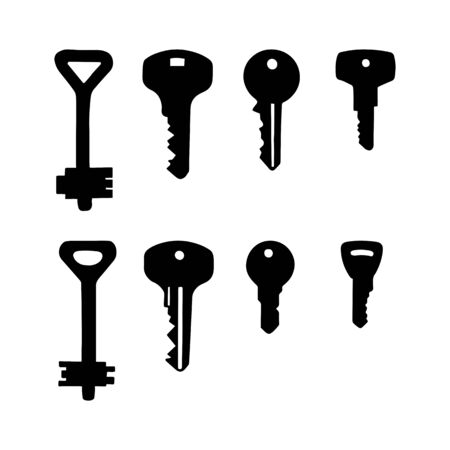 Set of keys, silhouettes. Illustration