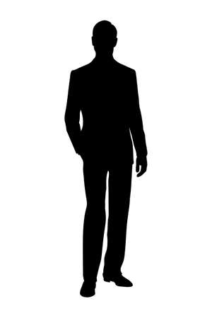 silhouette of man black and white vector illustration Vecteurs