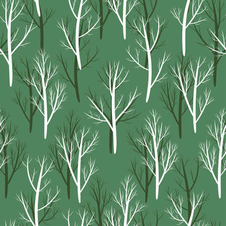 Seamless pattern Trees without leaves. Vector stock illustration