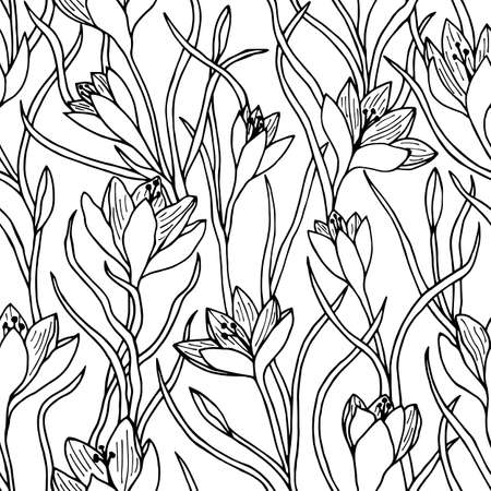 Seamless pattern of saffron flowers, crocus. Vector stock drawing.