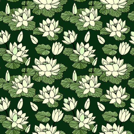 Water lilies seamless pattern. Vector stock illustration eps10. Hand drawing. Vettoriali
