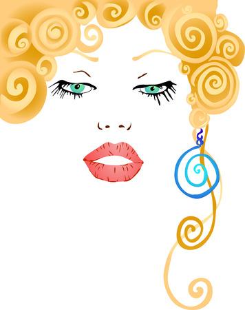 vector illustration of beautiful womans face Illusztráció