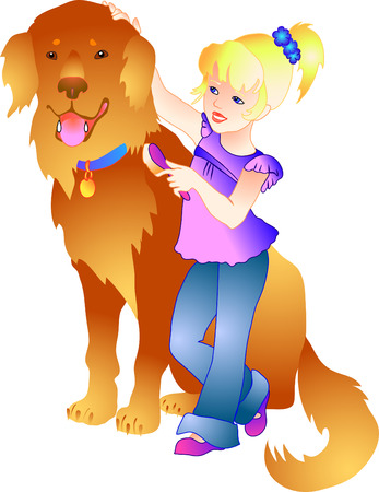 grooming: vector illustration of a girl with a dog Illustration