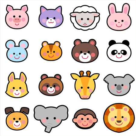Cute Animals Face Icon Illust Set blackline Ilustración de vector
