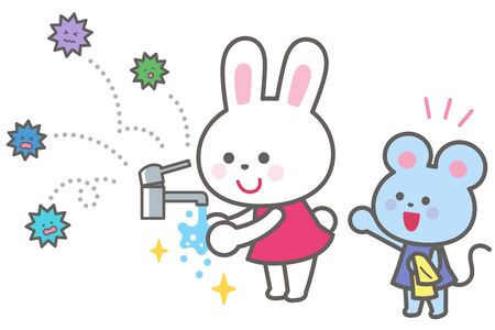 Goodbye to the virus/Bunny washing hands